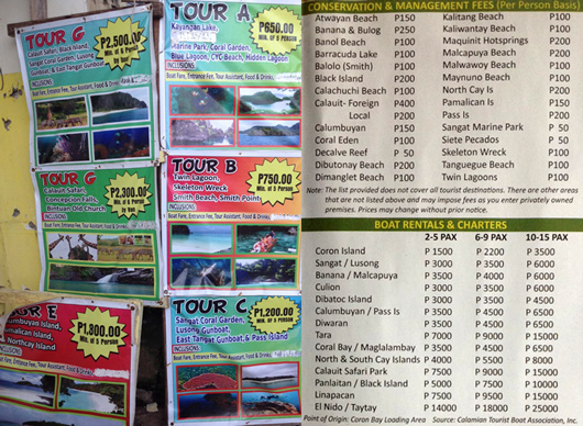 Coron Island Hopping Tour Rates